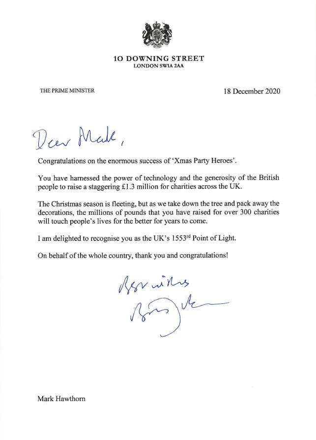 Boris Johnson letter png file for websites